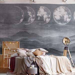 Design Tapete - Die blaue Wüste mit dem sich stetig verändernden Mond im Hintergrund